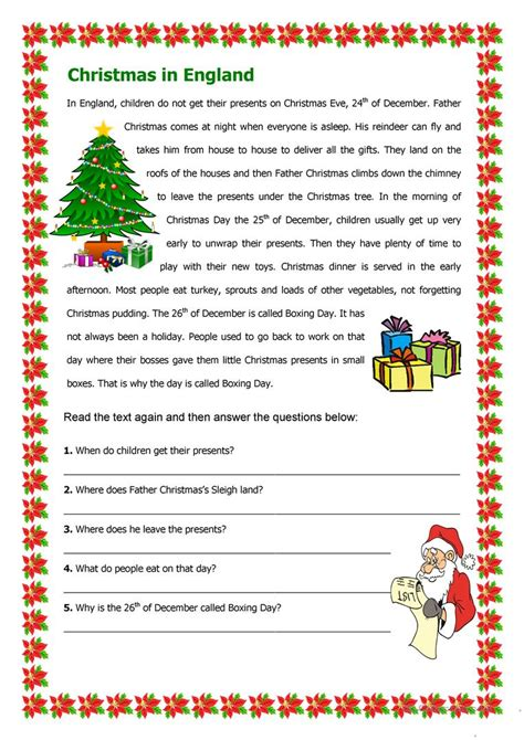 free christmas printable worksheets reading comprehension christmas in england worksheet free esl printable