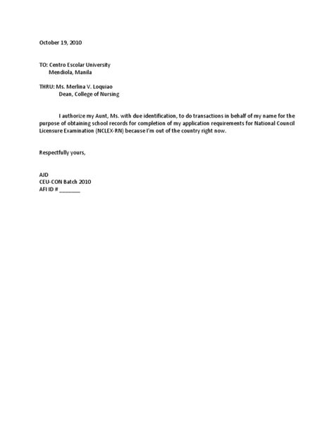 exle of authorization letter for transcript authorization letter for transcript of records sle