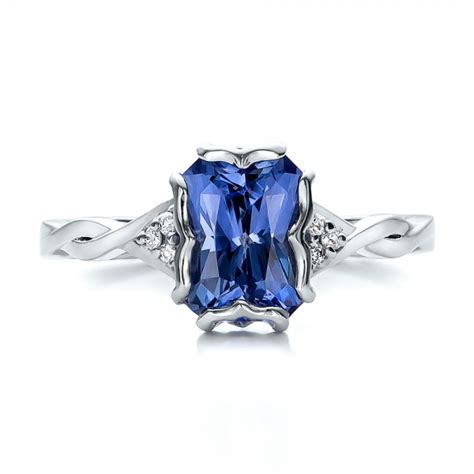 custom unique setting blue sapphire engagement ring 100793