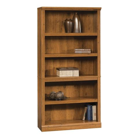 sauder bookcase shop sauder oak 69 75 in 5 shelf bookcase at lowes