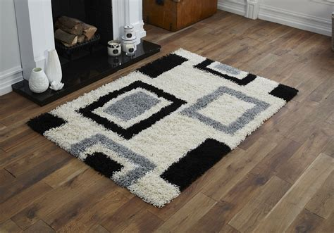 and black shaggy rugs modern small 60x120cm 5cm cosy box ivory black 5cm non shed quality shaggy rug ebay