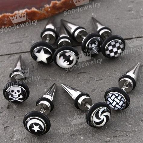 8x mixed style plastic stainless steel spike ear stud