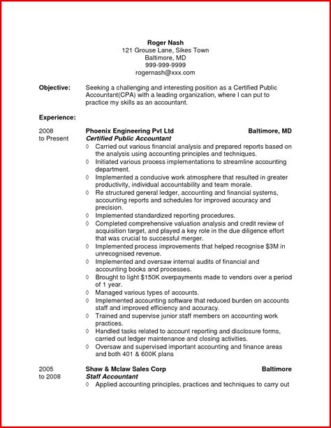 accounting resume sle accounting resume objective statement 28 images