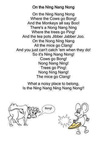 printable version ning nang nong on the ning nang nong poem and cloze activity by
