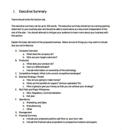 sample executive summary template 8 documents in pdf
