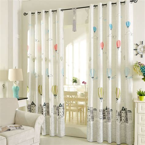 toddler curtains printed air balloon pattern beige poly cotton blend kids