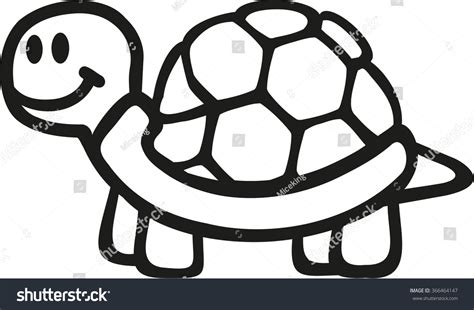 Turtle Outline Vector by Turtle Outline Stock Vector 366464147