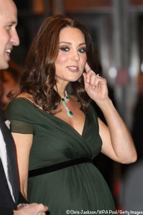 The Duchess in Dark Green Jenny Packham for BAFTA Awards   What Kate Wore