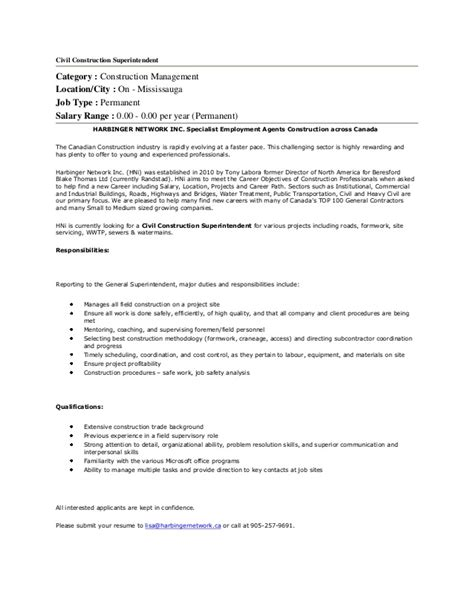 Electrical Superintendent Sle Resume by Civil Construction Superintendent In Mississauga