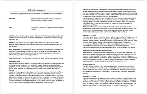indemnity agreement template microsoft word templates