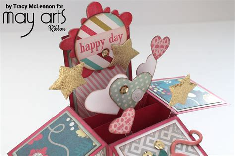how to make card in a box a birthday pop up box card may arts wholesale ribbon company