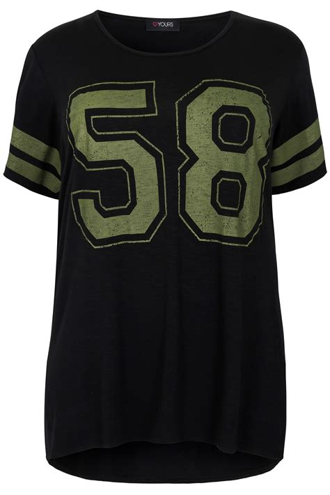 Printer Jersey black khaki 58 print varsity jersey t shirt plus size 16 to 36