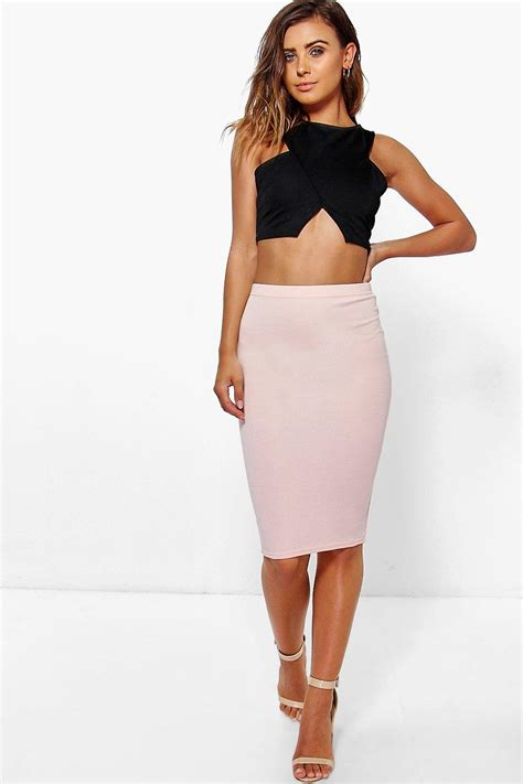 boohoo womens april basic midi bodycon skirt