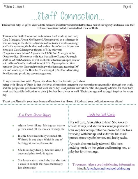 house of ruth house of ruth volunteer newsletter vol 6 issue 8