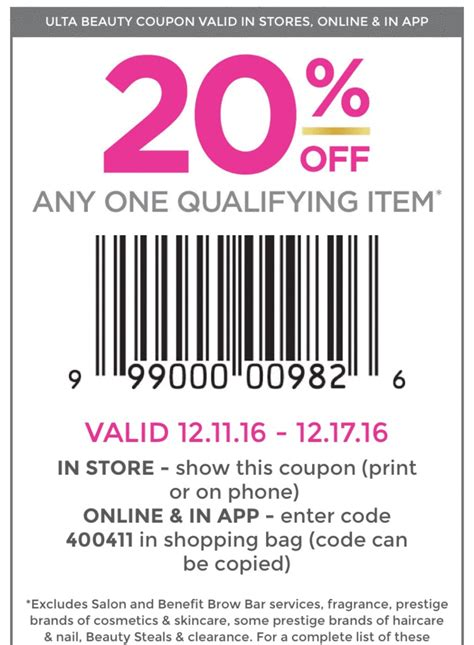 printable ulta coupons 20 20 off ulta coupon code bed bath and beyond in store