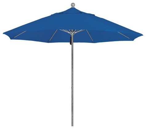 Olefin Patio Umbrella 9 Foot Olefin Fabric Aluminum Pulley Lift Patio Market Umbrella Silver Pole Contemporary
