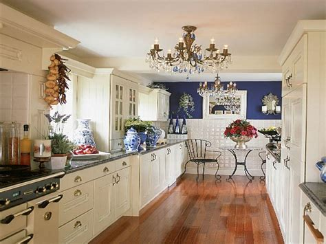 glossy kitchen tiles frigate blue  white galley