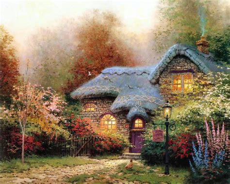 kinkade cottage paintings home living cottages of a tribute to kinkade
