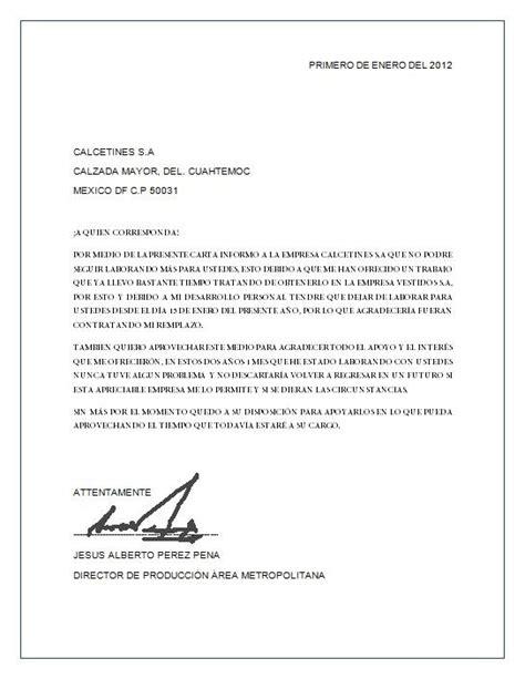 ejemplo de carta de renuncia breve ejemplos de carta carta de renuncia descripci 243 n imagen ejemplos