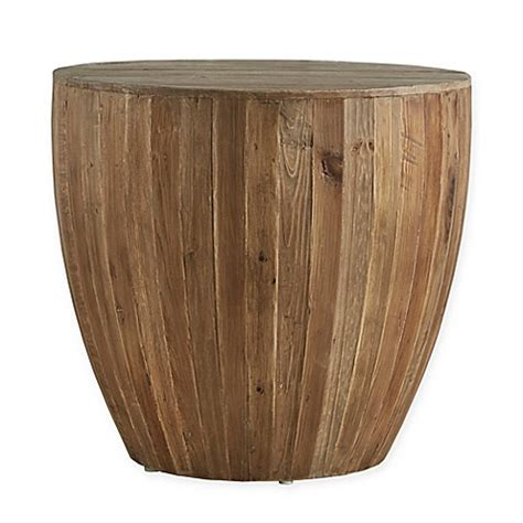 drum accent table verona home tallison wood drum accent table bed bath