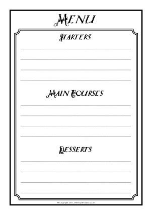 Blank Menu Template For Kids World Of Printable And Chart Blank Menu Template Free