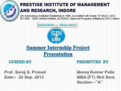 Sbi Internship For Mba by State Bank Of India Summer Internship Presentation