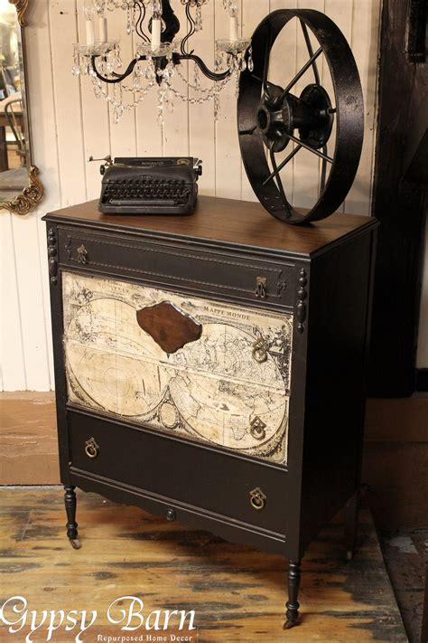 Decoupage Dresser - hometalk repurposing dresser with decoupage map