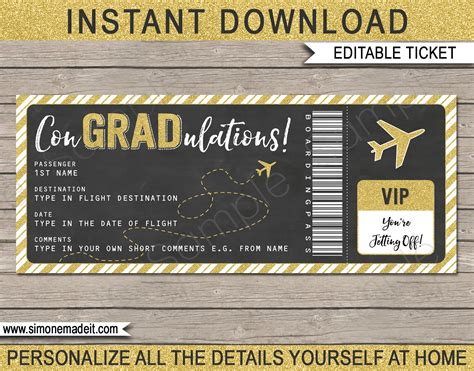 Flight Ticket Template Gift by Graduation Boarding Pass Gift Ticket Printable Plane