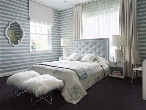 baby blue and white bedroom baby blue tufted headboard with white nightstands