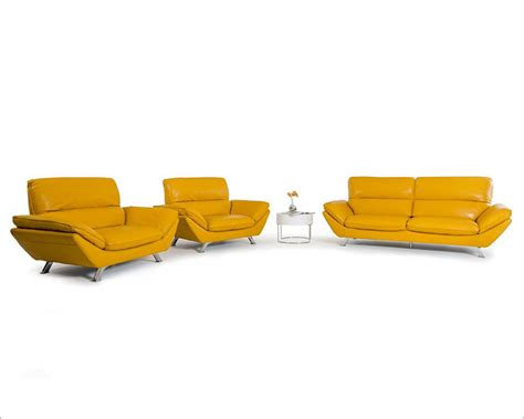 yellow italian leather sofa set in modern style 44l5928