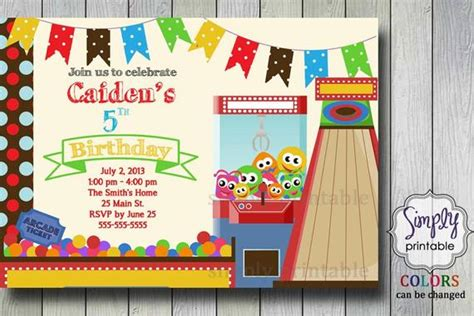 Birthday Party Invitation Arcade Arcade Invitation Template