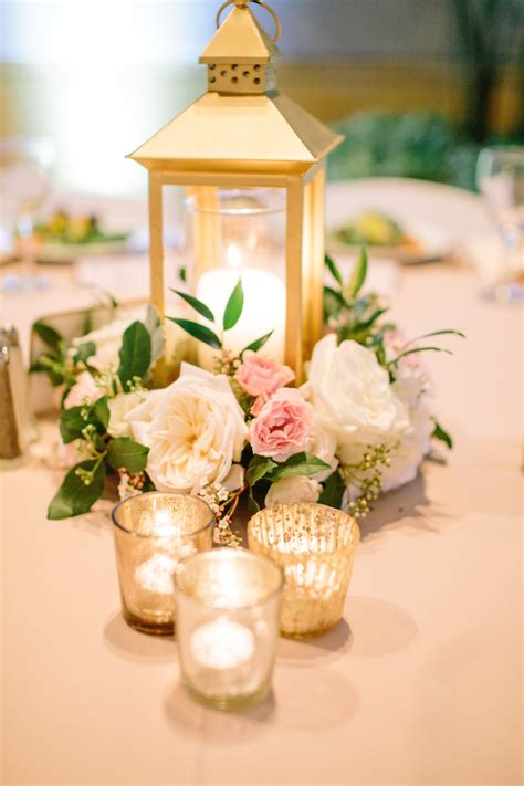 Flower Wedding Centerpiece by Gold Lantern Centerpiece Blush Ivory Gold Centerpiece