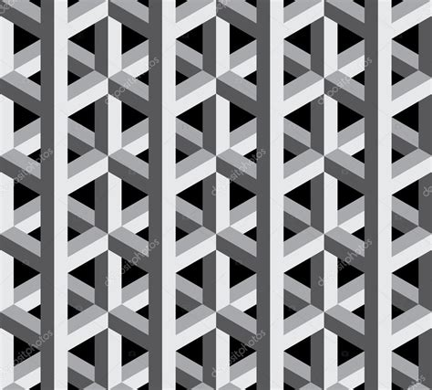 3d style black and white vector modern seamless sacred geometry pattern 3d black
