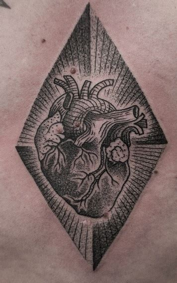 rhombus pattern tattoo anatomic heart in rhombus by m x m