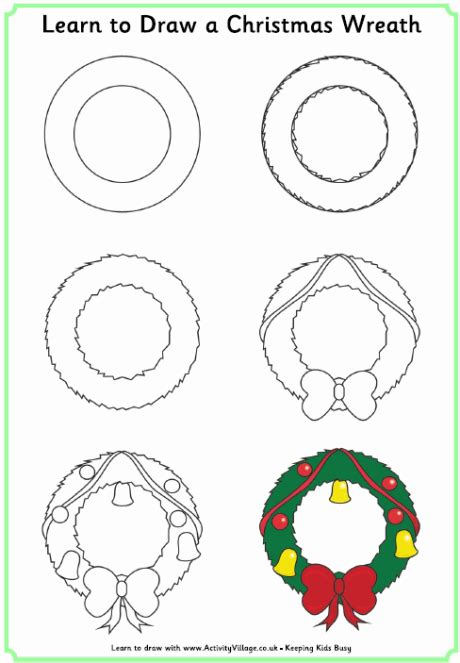 drawing step to step christmas decorations learn to draw a wreath