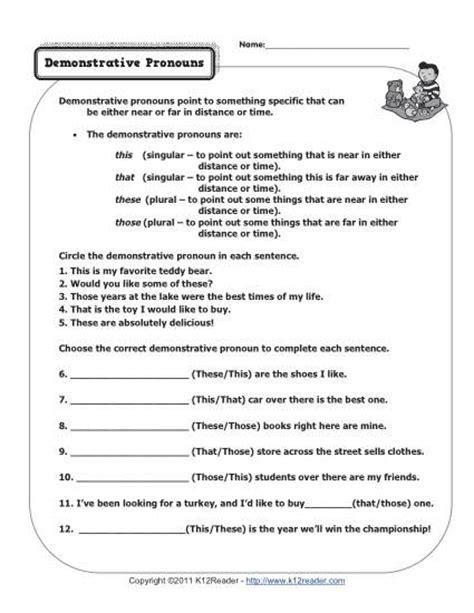 printable worksheets on pronouns demonstrative pronouns pronoun worksheets