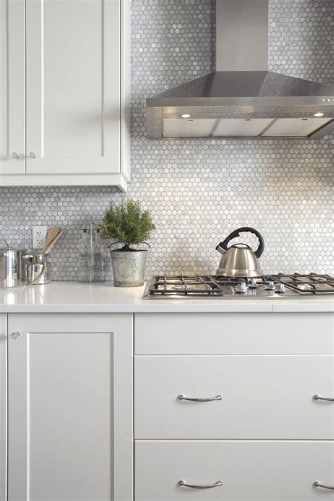 hexagon marble backsplash modern kitchen houston carrara