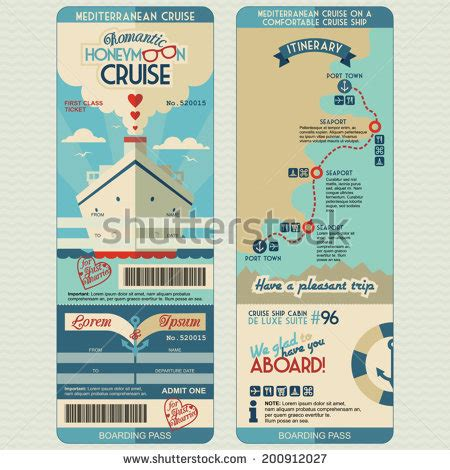 free printable cruise ticket template travel itinerary stock photos images pictures