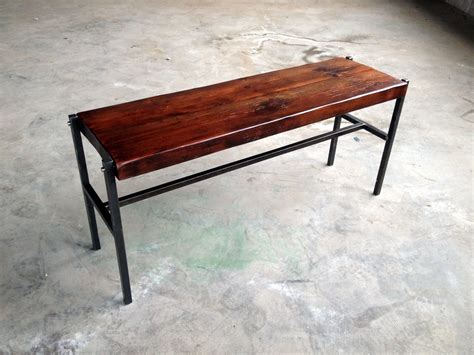 iron bench legs handmade reclaimed wood bench with iron legs by shellback