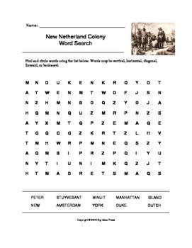 Search Netherland New Netherland Colony Word Search Grades 4 5 Colonial