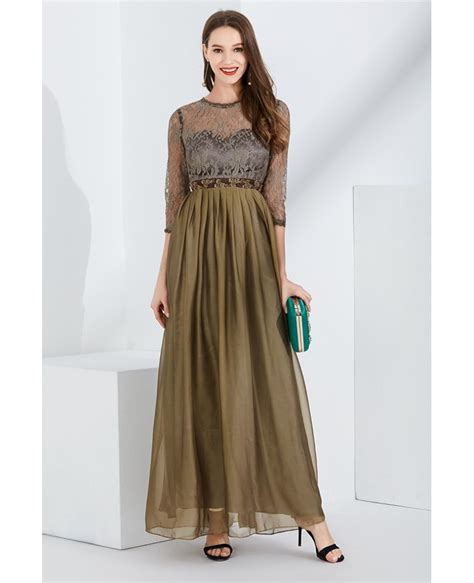 Sleeve Pleated Chiffon Dress pleated chiffon brown prom dress with lace bodice