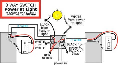 3 way switch wiring diagrams 3 way switch power at light