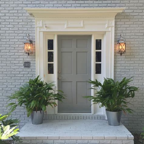 new house exterior color scheme sherwin williams gray screen brick and ear grey door