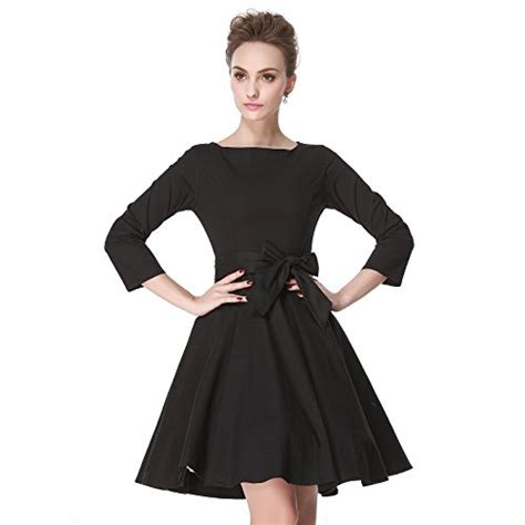 27656 Retro Black Size M heroecol 50s 60s hepburn 3 4 sleeve style vintage retro swing rockailly dresses size m color