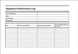 equipment maintenance log word excel templates