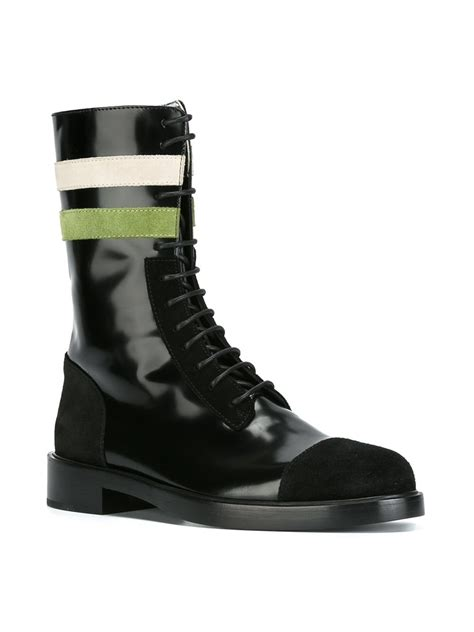 lyst raf simons striped lace up boots in black for