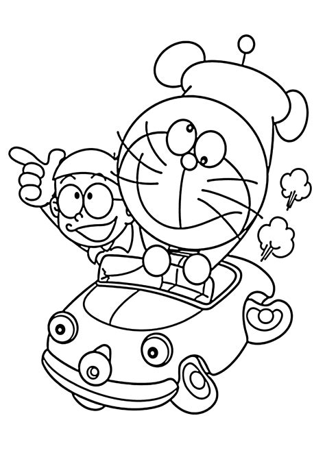 doraemon coloring pages pdf doraemon in car coloring pages for kids printable free