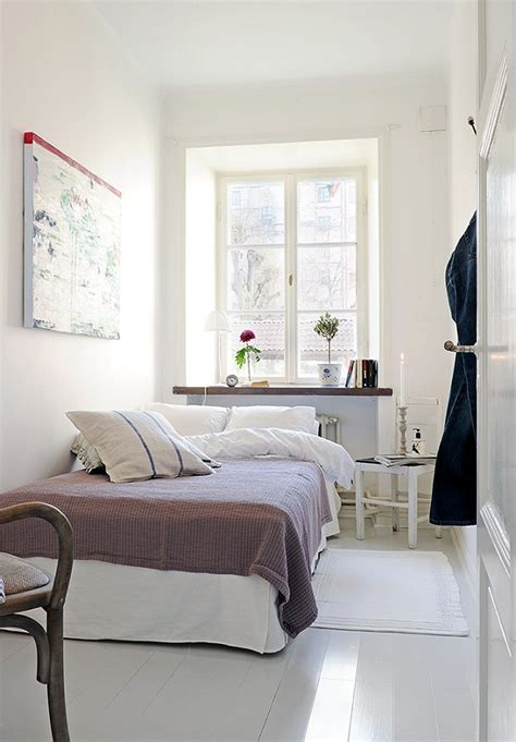 small narrow bedroom minimalist white tiny bedroom ideas with white bed and
