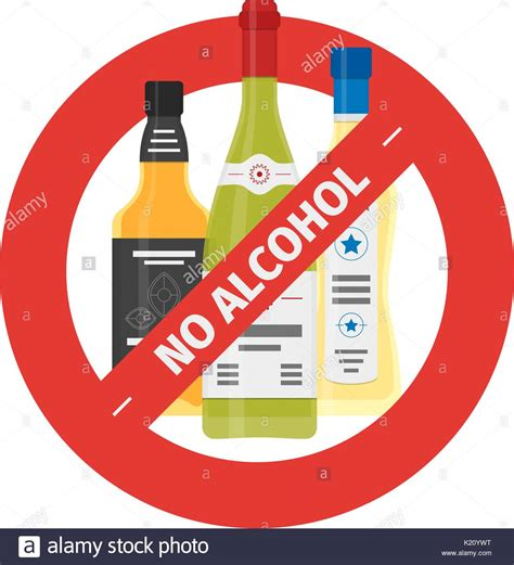 cartoon no alcohol vector flat stop drinking icon of alcohol bottles stock