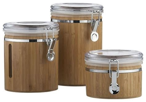 bamboo clip canisters contemporary kitchen canisters